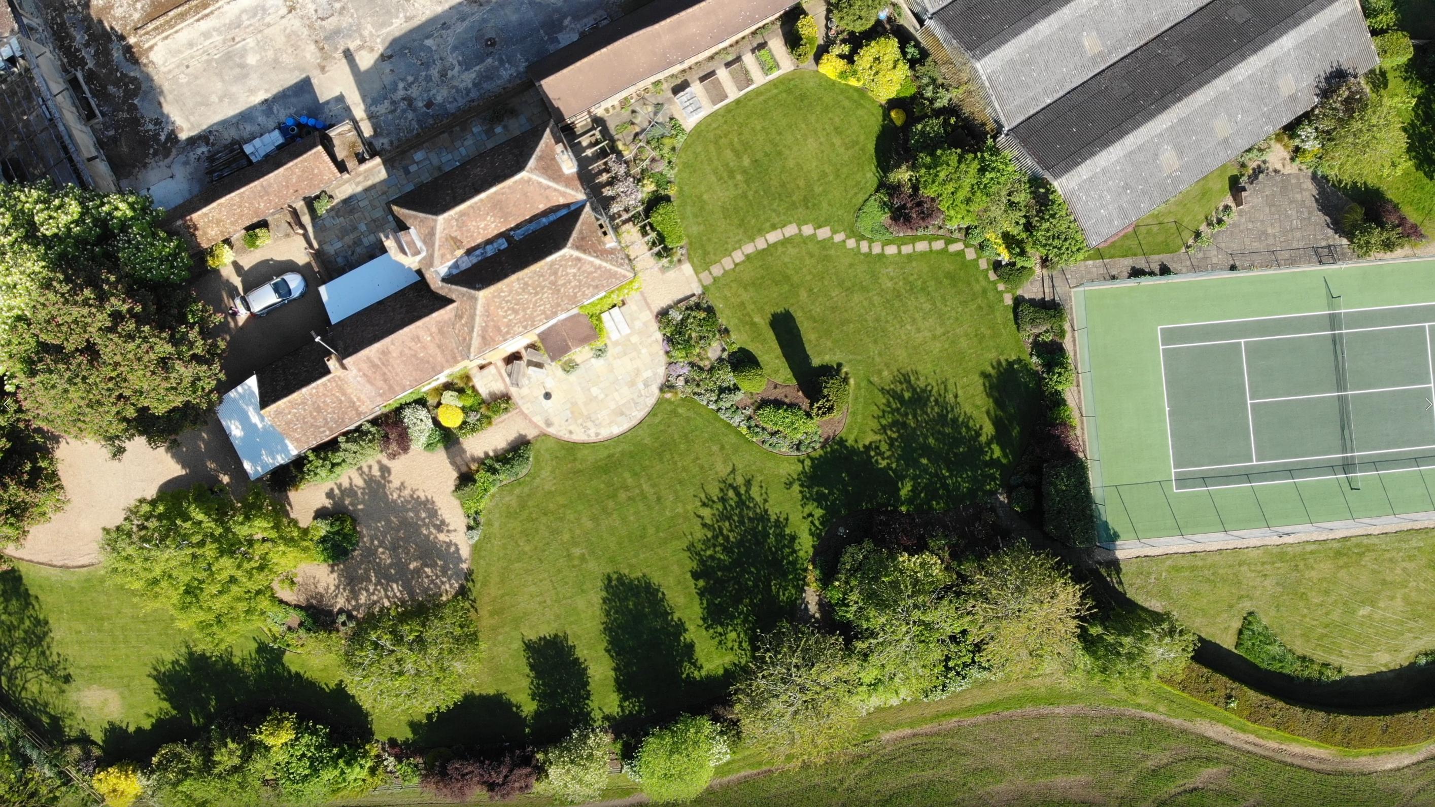 Birds eye view of The Gardens at Polehanger Outdoor Venue