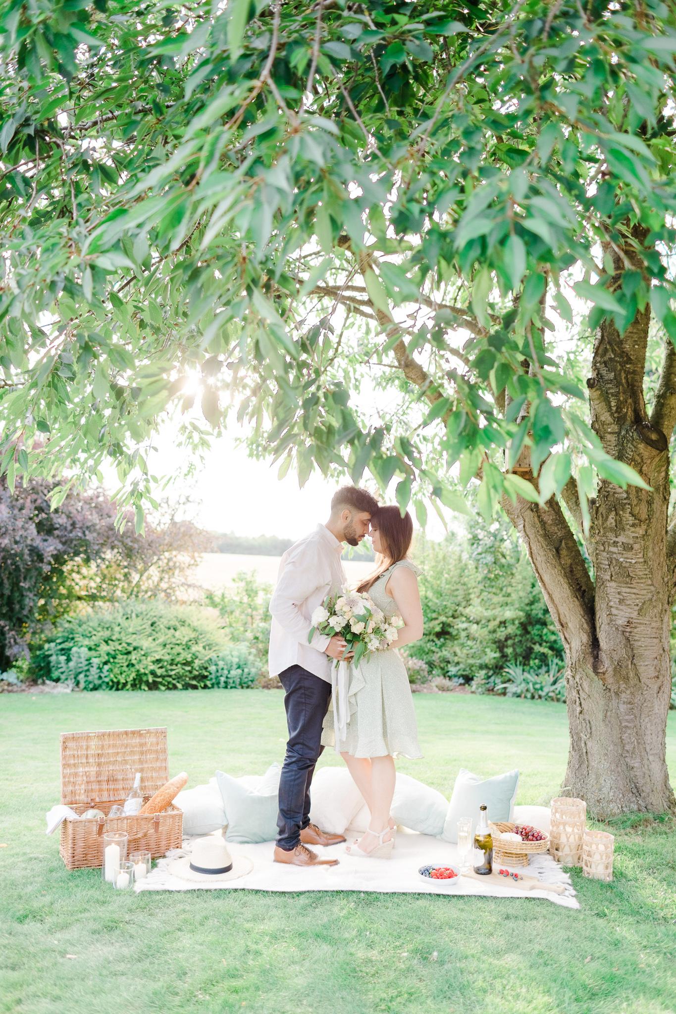 Couple's sunset engagement shoot at The Gardens at Polehanger - Natalie Stevenson