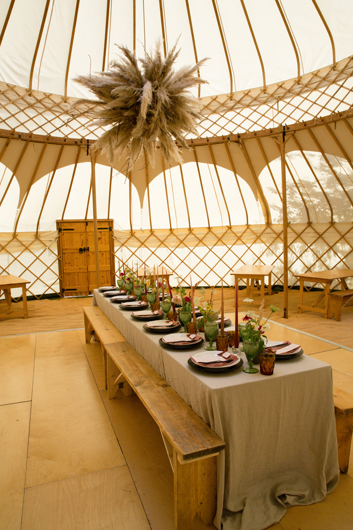 Yurt interior styling by White Button Weddings at The Gardens at Polehanger Shoot July 2020
