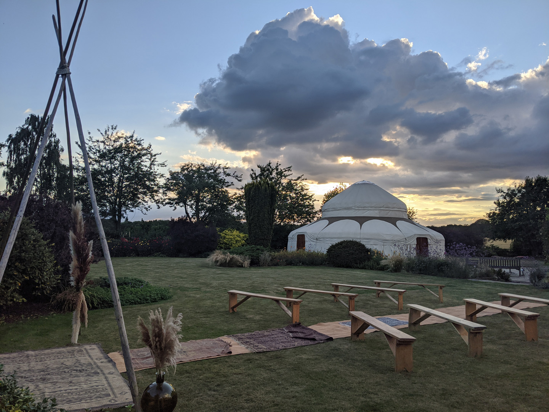 The Gardens at Polehanger sunset yurt